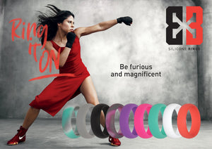 Lady in red dress fighting with E3 silicone ring collection