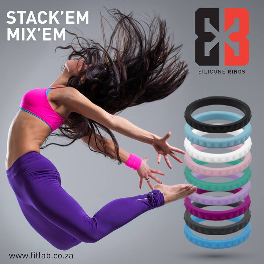 Women's stackable E3 Silicone Stacker collection with lady gymnast