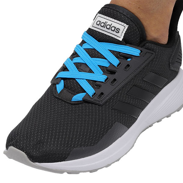Blue E3 Lastic lace used on Black shoe, no tie shoe lace