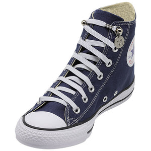 White E3 Lachet Lastic Lace with tag in Blue sneaker, no tie shoe lace