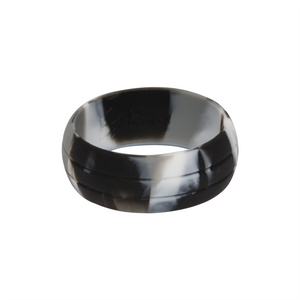 Black Camo E3 Active Silicone Wedding Ring with 2-line design - mixture of black, grey and white