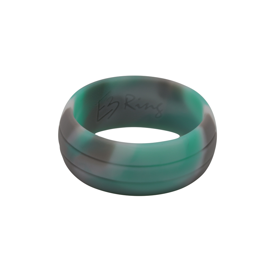 Mint Camo E3 Active Silicone Wedding Ring with 2-line design - mixture of mint, grey and white