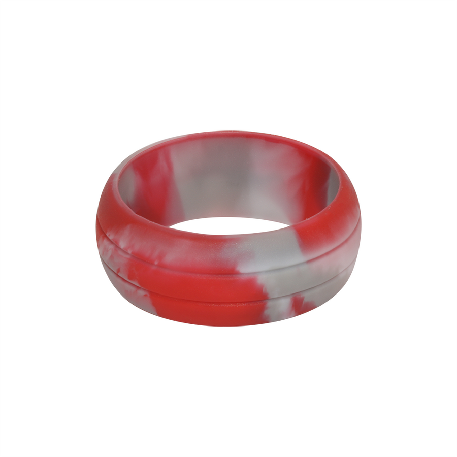 Red Camo E3 Active Silicone Wedding Ring with 2-line design - mixture of red, grey and white