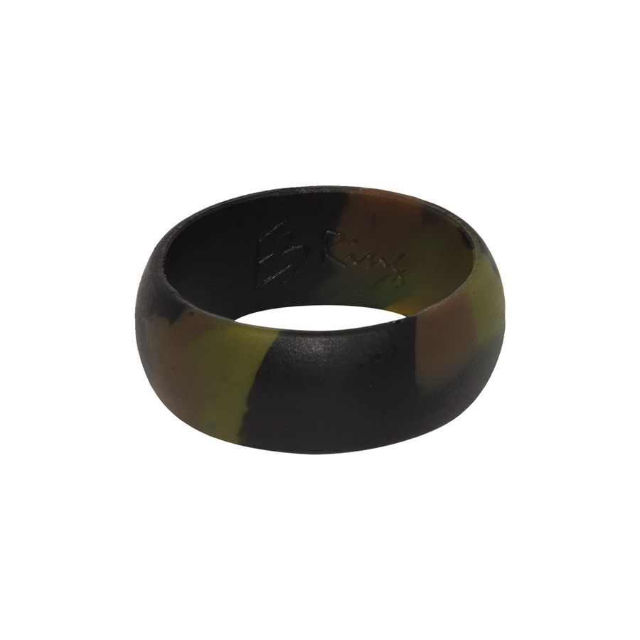 Army Camo E3 Active Silicone Wedding Ring - mixture of black, brown and green