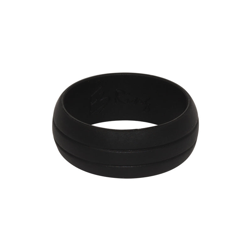 Men's Double Debossed with 2 lines in Black - E3 Active Silicone Wedding Ring