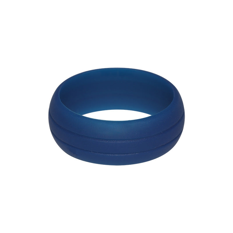 Men's Double Debossed with 2 lines in Blue -E3 Active Silicone Wedding Ring