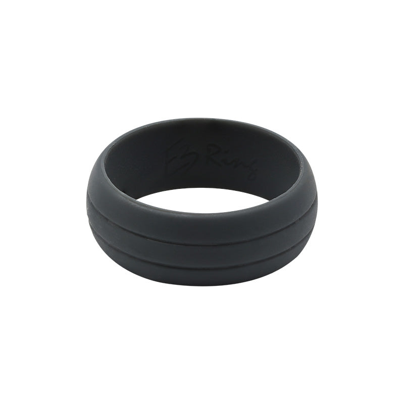 Men's Double Debossed with 2 lines in Charcoal - E3 Active Silicone Wedding Ring