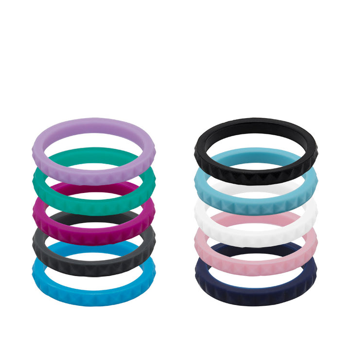 Women's diamond shaped stackable E3 silicone wedding ring collection