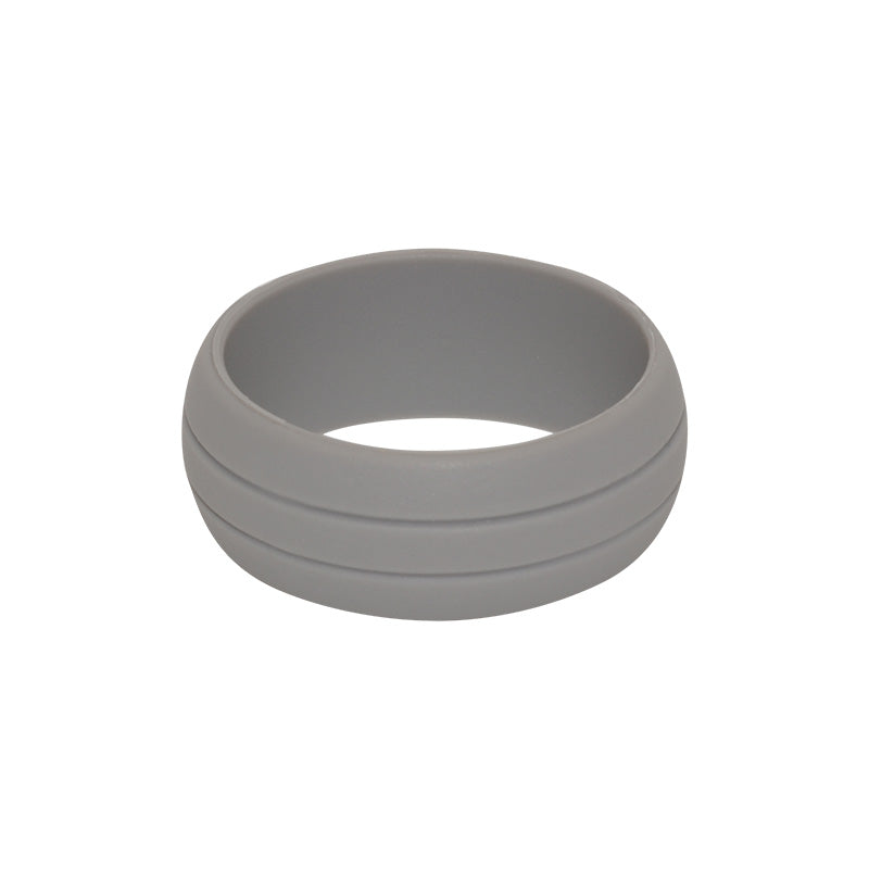 Men's Double Debossed with 2 lines in Grey - E3 Active Silicone Wedding Ring