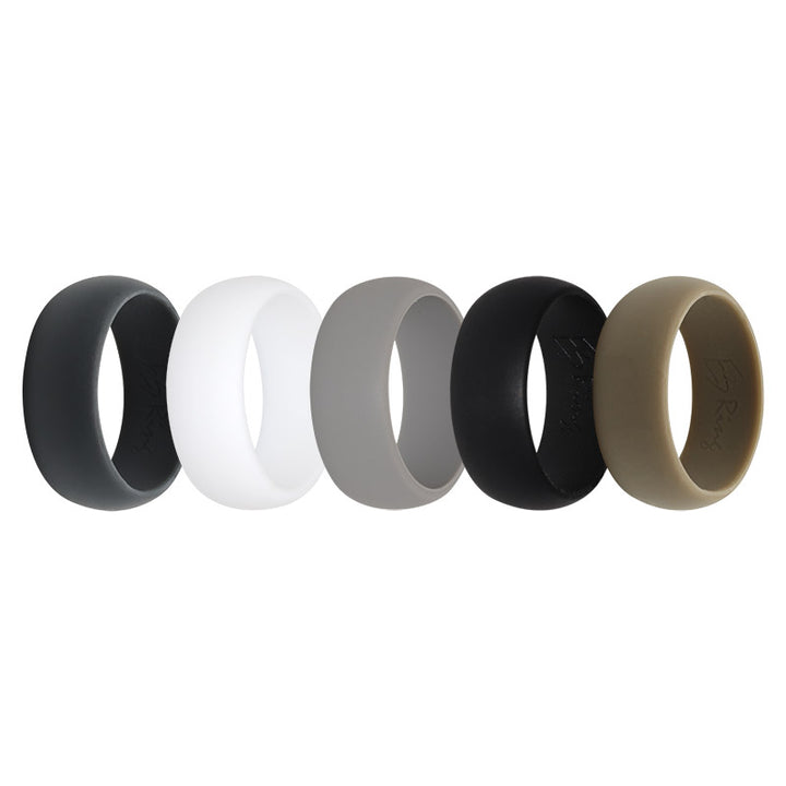 Men's plain E3 Active Silicone wedding ring collection of natural colours
