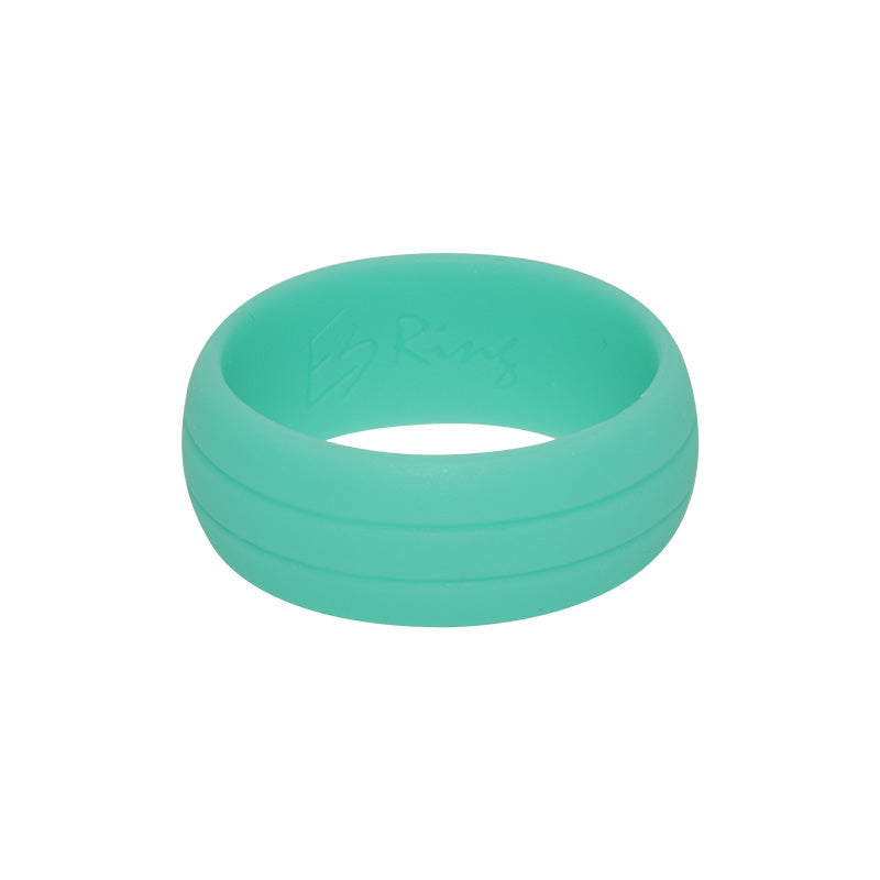 Men's Double Debossed with 2 lines in Mint - E3 Active Silicone Wedding Ring