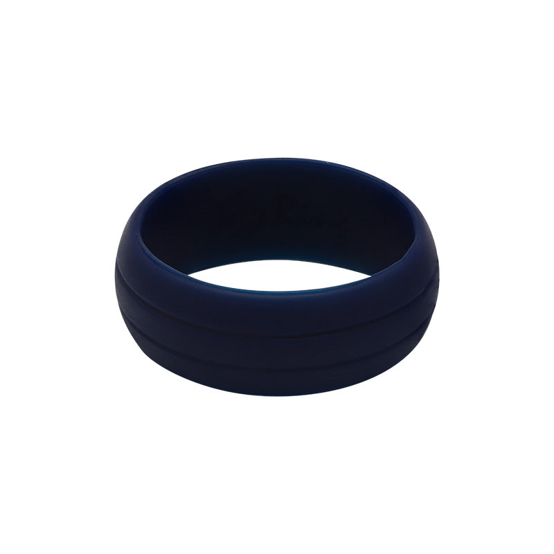 Men's Double Debossed with 2 lines in Navy - E3 Active Silicone Wedding Ring