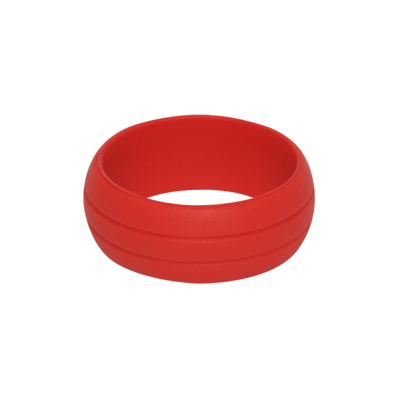 Men's Double Debossed with 2 lines in Red - E3 Active Silicone Wedding Ring