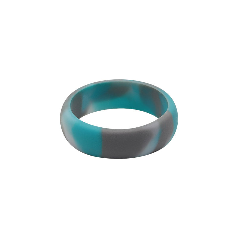 Turquoise Camo E3 Active Silicone Wedding Ring - mixture of turquoise, grey and white