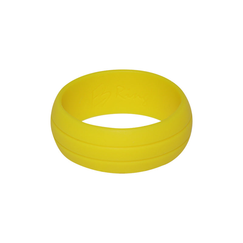 Men's Double Debossed with 2 lines in Yellow - E3 Active Silicone Wedding Ring