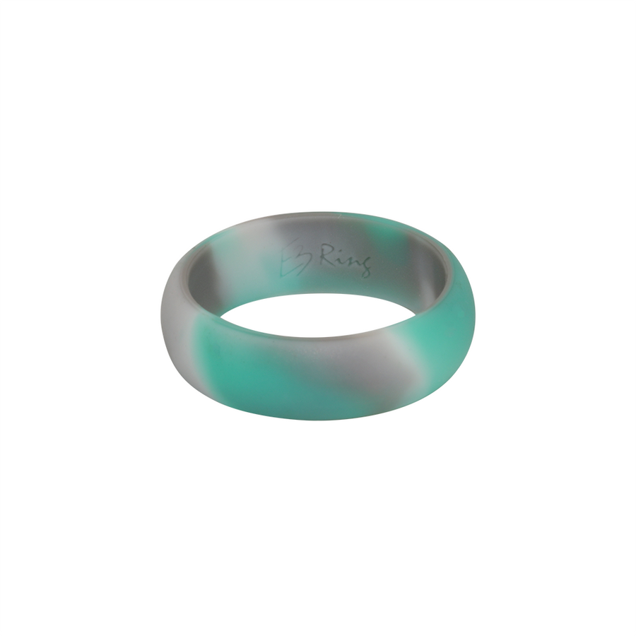 Mint Camo E3 Active Silicone Wedding Ring - mixture of mint, grey and white