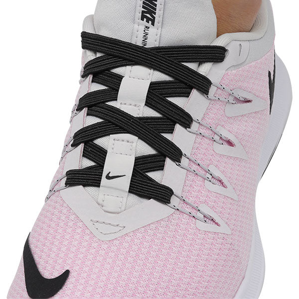 Black E3 Lastic lace used on Light Pink shoe, no tie shoe lace