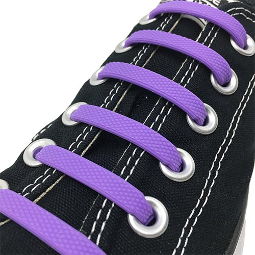 Purple E3 Silicone laces in black sneaker, no tie lace