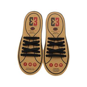 Black E3 Silicone kids laces, no tie lace
