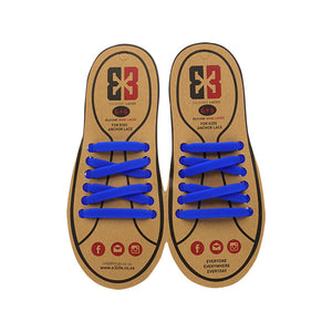 Dark Blue E3 Silicone kids laces, no tie lace