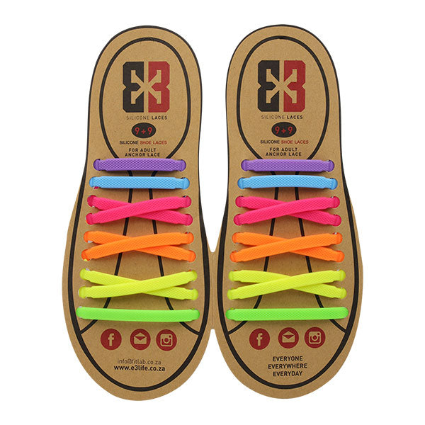 Multi-colour E3 Silicone laces, no tie lace
