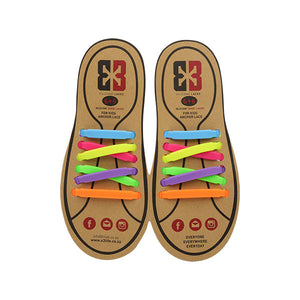 Multi-colour E3 Silicone kids laces, no tie lace