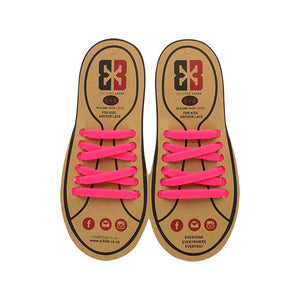 Pink E3 Silicone kids laces, no tie lace