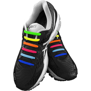 Multi-colour E3 Silicone laces in black shoe, no tie lace