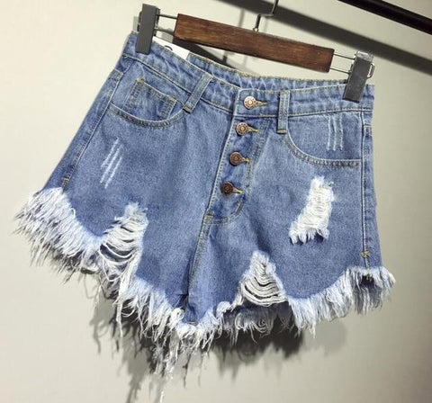 Denim short shorts