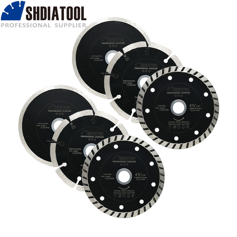 "SHDIATOOL 4-1/2 Inch Diamond Saw Blades Cutting Discs Set for 7/8"" or 5/8"" Arbor  can be Shipped from USA oversea warehouse - DIATOOL"