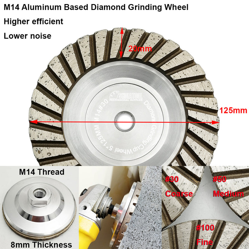 "SHDIATOOL 5"" Diamond Cup Wheel Grinding  Concrete Aluminum Body M14 thread - DIATOOL"