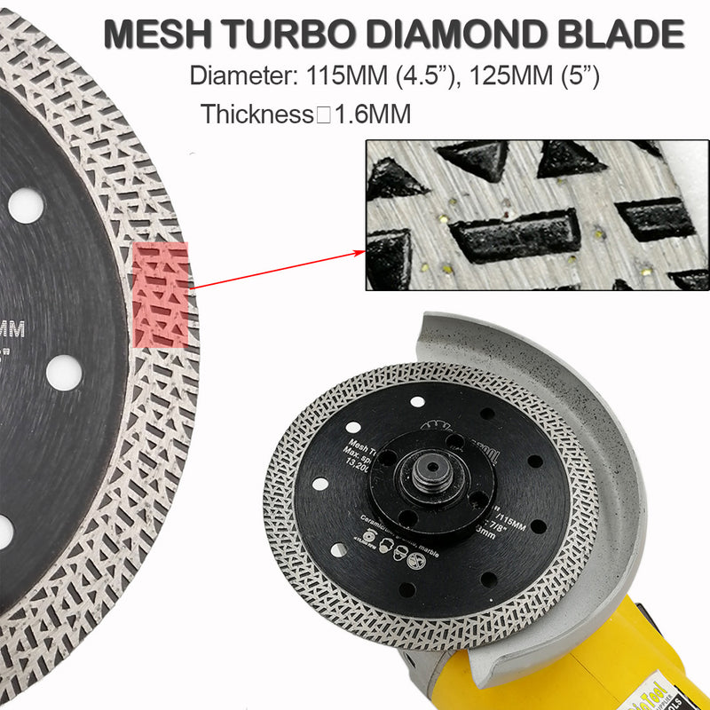 Mesh Turbo Diamond Saw Blade Cutting Porcelain Tile - DIATOOL