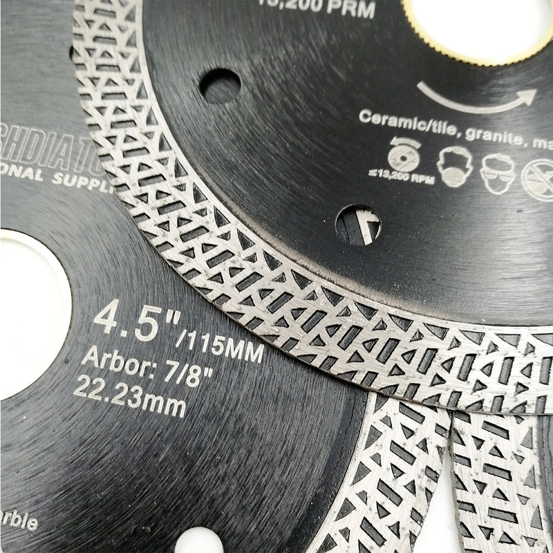 "5pcs 4.5""/115mm Mesh Turbo Diamond Saw Blade Cutting Porcelain Tile - DIATOOL"