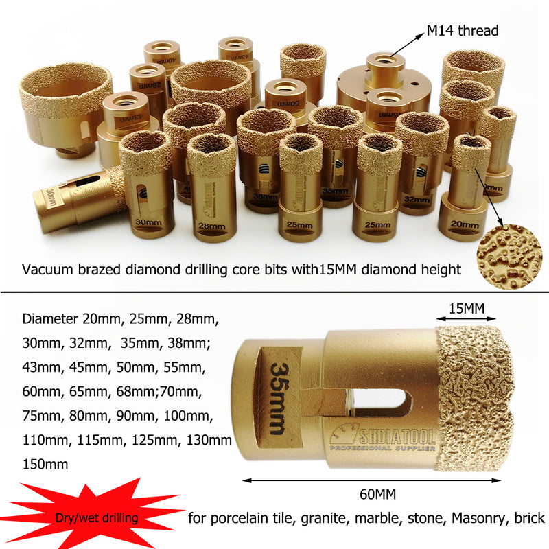 Dry Diamond Drill Core Bit for Porcelain Tile Granite Marble M14 Connection Diamond height 15MM - DIATOOL