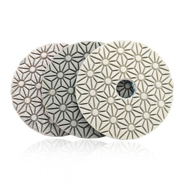 "3 Step 4"" Diamond Polishing Pads for Marble Soft Stone Floor - DIATOOL"