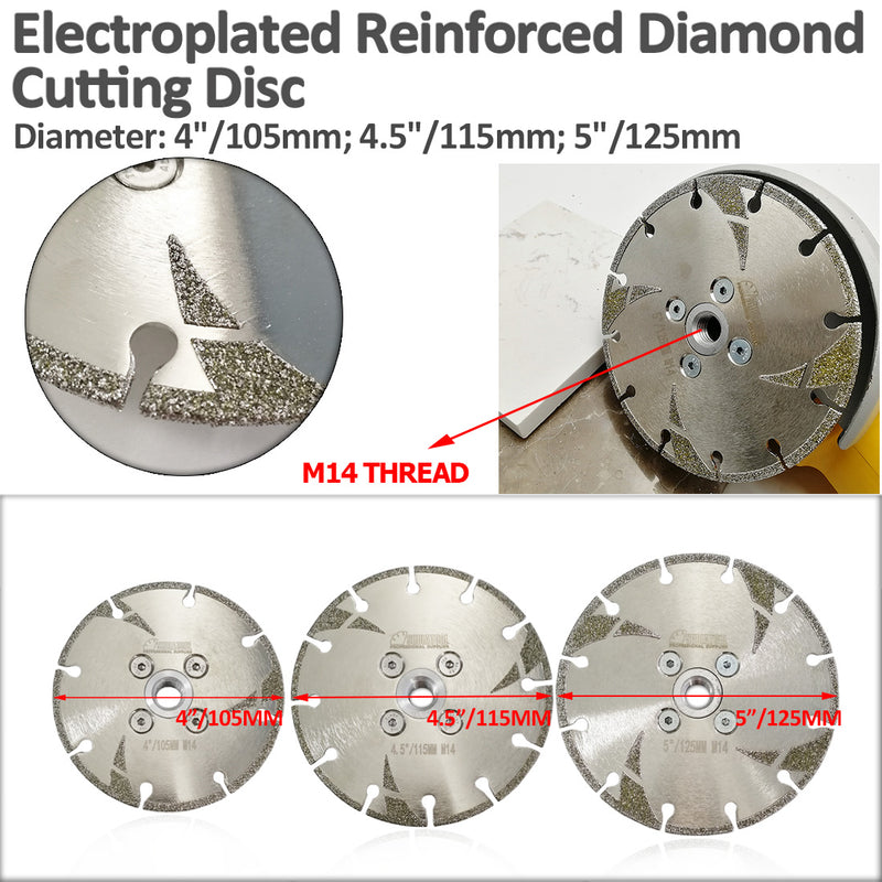 Electroplated Ox-horn Reinforced Diamond Cutting and Grinding Blade M14 Thread - DIATOOL