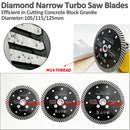 Narrow Turbo Rim Diamond Blades for Cutting Granite M14 Thread - DIATOOL