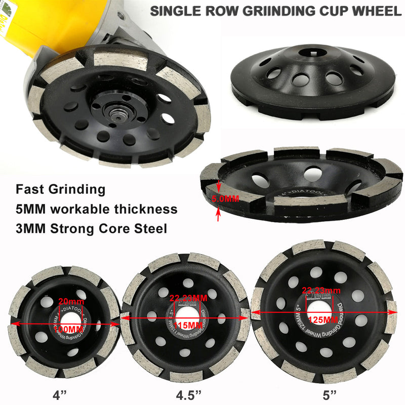 Diamond Single Row Grinding Cup Wheel for concrete masonry 3 sizes available - DIATOOL