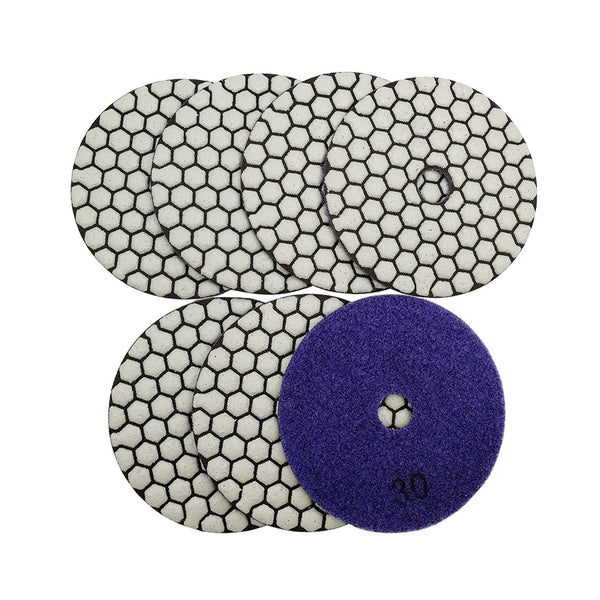 4 in. Dry Diamond Polishing Pad for Granite Marble SHDIATOOL 7pcs/set can be Shipped from USA oversea warehouse - DIATOOL