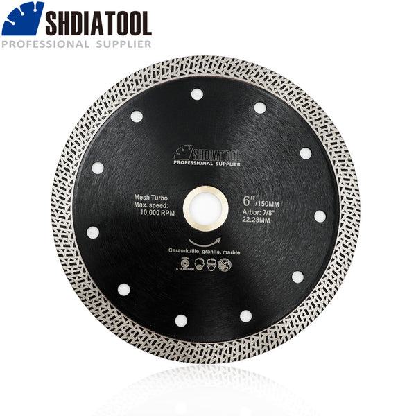 "Dia 150mm/6"" Diamond Cutting Disc Mesh Turbo Dry or Wet Cutting Granite Marble Tile Ceramic"