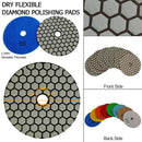 4 in. Dry Diamond Polishing Pad for Granite Marble SHDIATOOL 8pcs/set Mixed Grits plus a M14 Arbor Aluminum base backer - DIATOOL