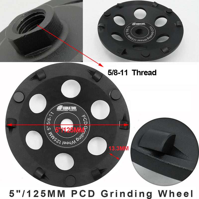 "PCD Grinding Cup Wheel for Remove Epoxy Glue Mastic Paint and Concrete Floor Surface Coating M14 or 5/8-11 Thread available 4.5"" 5"" - DIATOOL"