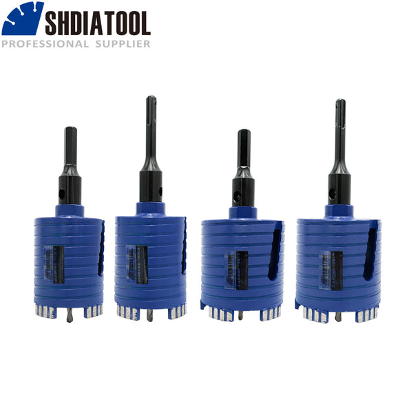 Diamond Core Drill Bit Including Center Drill and SDS-Plus or Hex Adapter for Brick Concrete Block wall Masonry Diameter 68/82mm 5/8-11 or M16 thread - DIATOOL