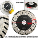 SHDIATOOL  2 in 1 Diamond Blade for cutting and grinding Granite Marble M14 thread   - DIATOOL