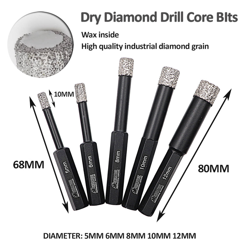 Professional Hex Shank Dry Diamond Tile Drill Bits Kit(3 sizes) - DIATOOL