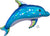 Foil Balloon Supershape Iridescent Blue Dolphi