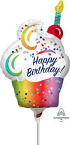 14 inch Foil - Rainbow Ombre Cupcake Happy Birthday