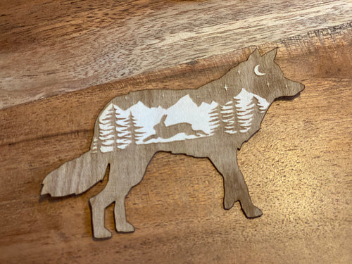 Wolf 3D laser cut sticker