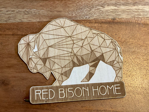 3D Laser Cut Wood Red Bison Sticker