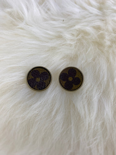 Upcycled LV Circle Post Flower Earrings